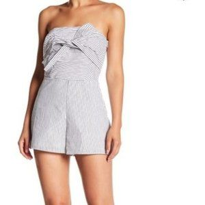Nasty Gal Pin Striped Romper with Bow